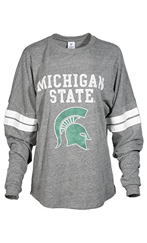 Official NCAA Michigan State University Spartans MSU Sparty Womens Long Sleeve Tri- Blend Football Tee