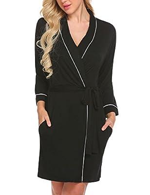 Ekouaer Bathrobes Women's Soft Kimono Robe Modal Cotton 3/4 Sleeve Sleepwear S-XXL
