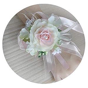 HuaHua-Store 1Pc Artificial Flower for A Wedding Wrist Flower Corsage of Bride&Bridesmaid Silk Champagne Rose Decor 99