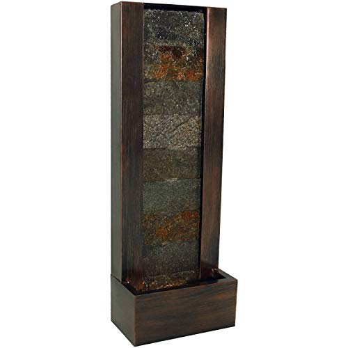 Sunnydaze Stonewall Outdoor Water Fountain with LED Lights, Garden & Patio Waterfall Feature, Slate & Metal Material, 39-Inch Tall