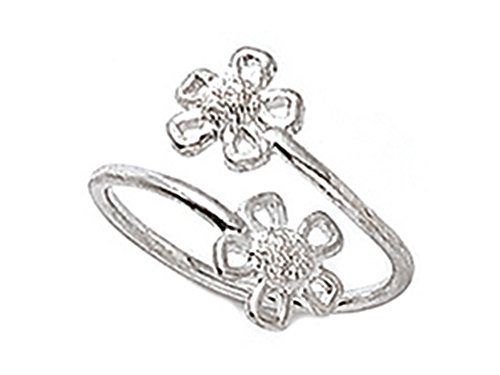 Sterling Silver Rhodium Finish Toe Ring Bypass Flowers
