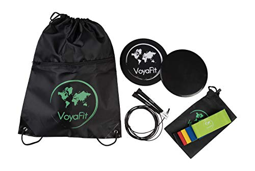VoyaFit Travel Fitness Kit Includes Latex Resistance Bands(5), Double Sided core Gliders(2), Jump Rope(1) - Comes in a Drawstring Backpack - Great for Travel (Lightweight), Home Workouts, Busy Moms ()