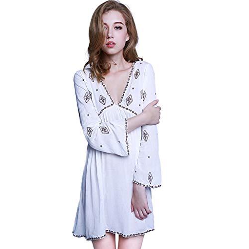 Interior V Halter Bordado Manga Estilo Profundo Ropa Camisones Nacional Larga Para En Una Pieza Pijamas Mujer Blanco De Estampado Escote Lencería nC66q8wxaO