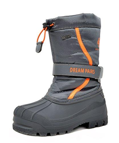 DREAM PAIRS Big Kid Kamick Grey Mid Calf Waterproof Winter Snow Boots Size 4 M US Big Kid