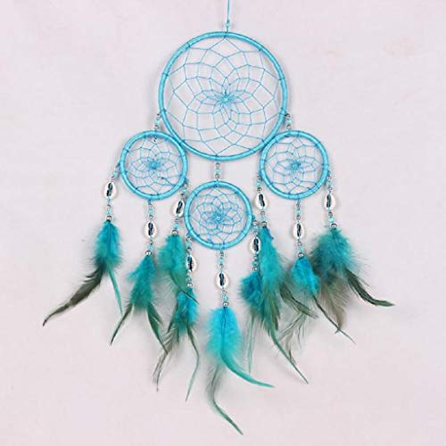Mexican Bedroom Furniture (Mikey Store Dream Catcher Handmade Wall Hanging Home Decor, with Feathers Dia 4.3 inch, Girl Room Bell Bedroom Romantic Decoration (Blue))
