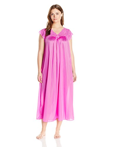 Shadowline Women's Plus Size Silhouette 53 Inch Short Cap Sleeve Long Gown, Flamingo Pink, ()