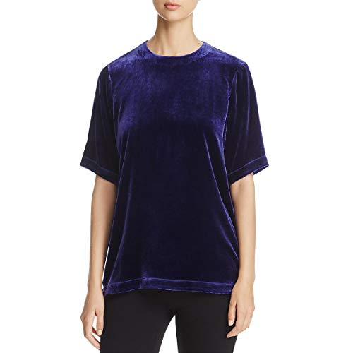 Eileen Fisher Long Silk - Eileen Fisher Womens Petites Velvet Short Sleeve Blouse Purple PS