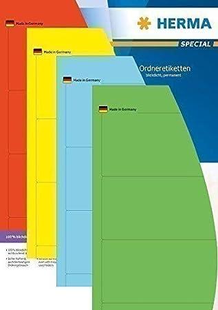 Herma Etiquetas Para Archivador - ancho, corto - en color surtido (rojo, azul, amarillo, verde: Amazon.es: Oficina y papelería