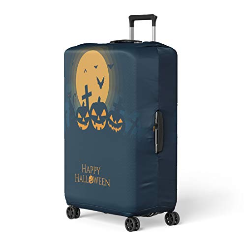 Pinbeam Luggage Cover Orange Halloween Pumpkins House Cat Bat Silhouette Full Travel Suitcase Cover Protector Baggage Case Fits 18-22 -