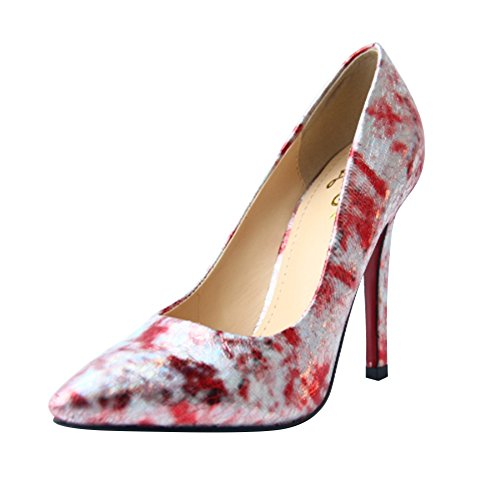 Womens Fashion Floral Print Pointed Toe High Heeled Pump Party Shoes Rose Red kwgjCX