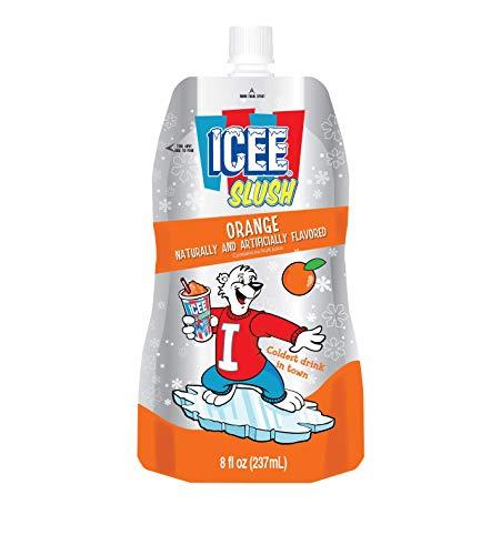 - ICEE--Slush Pouches--Orange Flavor--Fruit Flavored Ice Slushie Flavor Pops Delicious Frozen Treat Pouch-- 8 ounce 12 pack