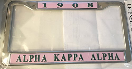 Alpha Kappa Alpha Sorority New Pink Metal License Plate Frame (Plate Frame License Greek)