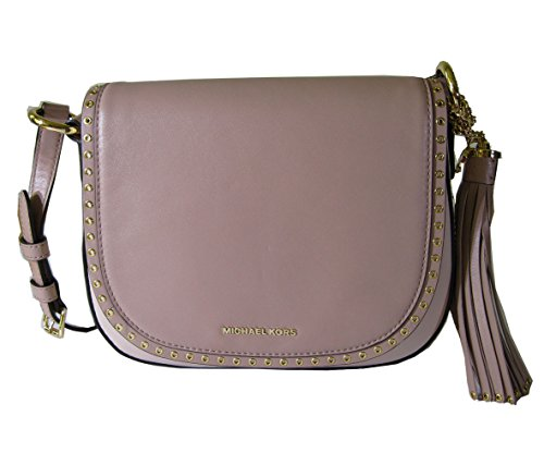 MICHAEL Michael Kors Brooklyn Tasseled Rivet Medium Saddle Bag (Soft Pink/Ecru/Fawn)