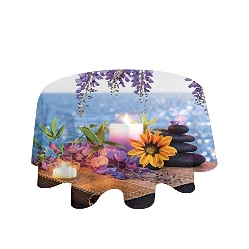 Spa Decor Easy Care Leakproof and Durable Tablecloth Massage Stones with Daisy and Wisteria with The Seabed Foliage Meditation Outdoor Picnic D55 Inch -
