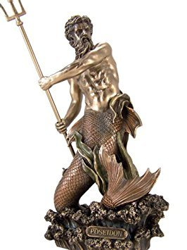 Bronze Statue Poseidon - Greek God of the Sea Poseidon with Trident 11 Inch Cold Cast Colored Bronze Merman Statue