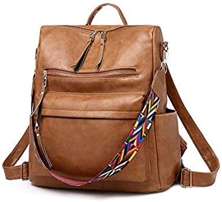 men Unisex work office bag Casual bag for women Brown backpack crossbody bag convertible