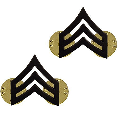 (Make your Uniform Look Smart! SGT Army Collar Pins Black Pair)