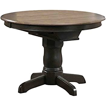 Iconic Furniture Round Dining Table 42 X 60 Antiqued Grey Stone Black Finish