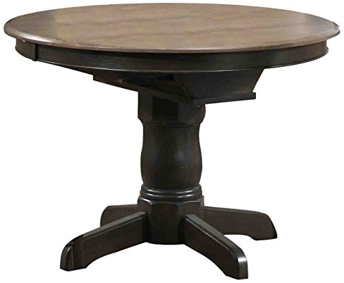 "Iconic Furniture Round Dining Table, 42"" x 42"" x 60"", Antiqued Grey Stone/Black Stone Finish"