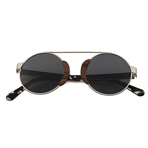 redondas madera Gafas de UV de sol sol al de sol marco de aire retro clásicas de Conducir Gafas metálico Gafas hombres Protección polarizadas de Gafas sol para Negro d Pesca Playa esquí libre Retro Gafas de IwU1T4qX7n