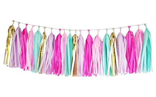 25 PCS Tissue Paper Tassel DIY Party Garland Decor for All Events & Occasions(Unicorn Pastel) -