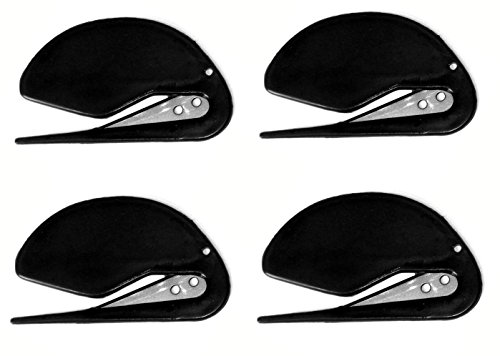4 Letter Opener Plastic Razor Blade Paper Knife / Envelope Slitter Set in Sharp Black by ALAZCO