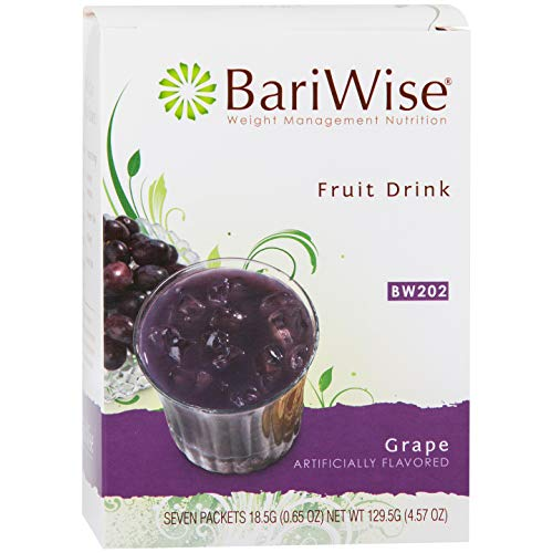 Fruit Flavored Beverage - BariWise High Protein Powder Fruit Drink (15g Protein) / Low-Carb Diet Drinks - Grape (7 Servings/Box) - Fat Free, Low Carb, Low Calorie, Sugar Free