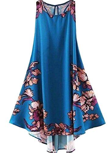 Serbatoio Vestito Fiore Delle Stampa Elegante Blu Donne Magro Backless Comodi Della qnIFq6wH