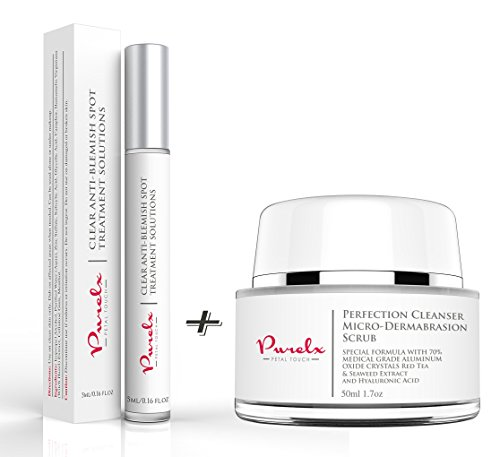 PureLx Acne Fighting Duo - Clear Anti Acne & Blemish Solution with Micro-Dermabrasion Exfoliating Cleanser For - Kit Solution Redness Anti