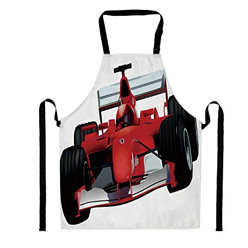 (YOLIYANA Formula Race Car with The Driver Automobile Motorized Sports Theme Strong Engine Decorative,Unisex Kitchen Bib Apron with Adjustable Neck for Cooking Baking Gardening, Multicolor)
