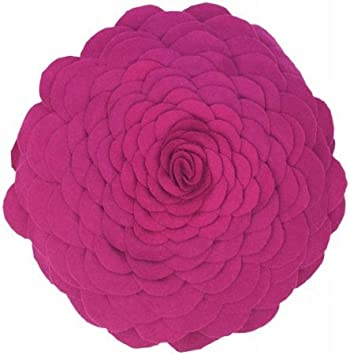 Rizzy Home TF-4344 14-Inch Round Decorative Pillows, Magenta