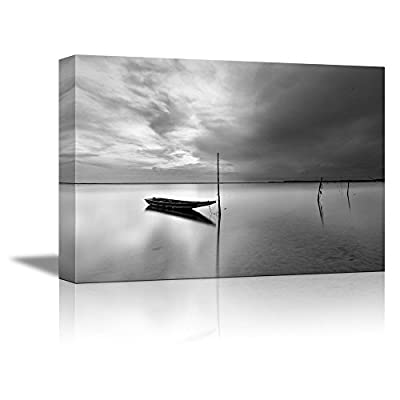 Incredible Picture, Quality Artwork, Lonely Boat on a Peaceful Lake Print