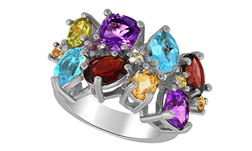 Multi Shape Simulated Gemstone Fashion Ring in 14K White Gold Over Sterling Silver (5.57 (14k Multi Gem Ring)