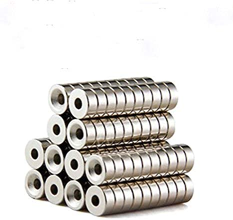 20 PCs 15mm x 5mm Strong Magnets  Countersunk Ring Hole 4mm Rare Earth Neodymium