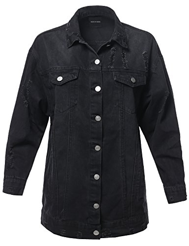 Made by Emma Over-Sized Distressed Long Sleeve Denim Jacket Black L