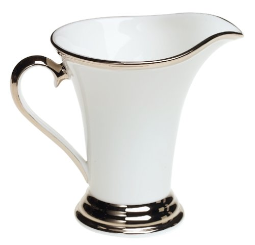 Lenox Solitaire White Platinum-Banded Bone China Creamer