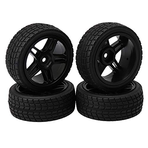 Lattice Rim - BQLZR Small Square Lattice Shape Tire and Five-Pointed Star Wheel Rims for RC 1: 10 On-Road Racing Car Pack of 4