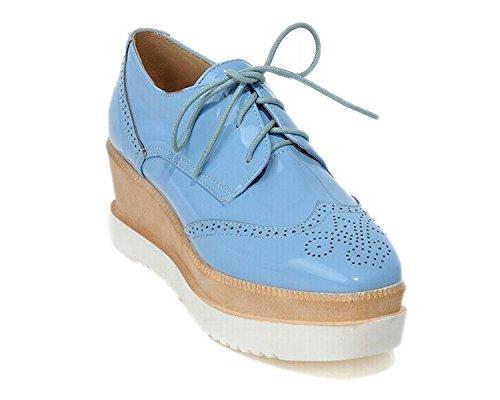 Maybest Dames Lace-up Platform Sleehak Gesneden Oxfords Schoenen Pumps Blauw
