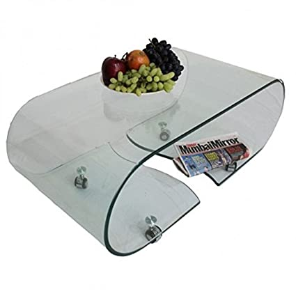 Unique360 Axis Coffee Table With Bent Glass White Amazon In