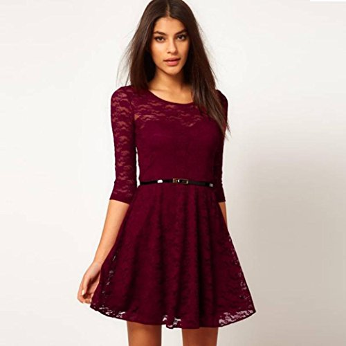 34 Sleeve Lace Skater Dress Beautyfine Womens Simple Mini Dress With Belt
