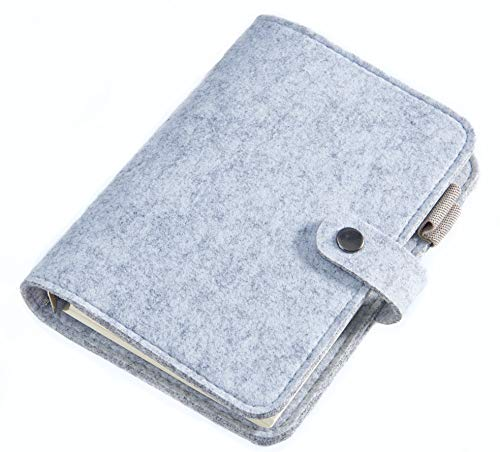 Thick Spiral Bound Journal, 100gsm Premium Wide Ruled 160 Pages (80 Sheets), Wool Felt Cover, with Pen Loop and Card Slot, Refillable Diary and Travelers Notebook (Gray, Lined) (Leather Snap Closure Mini)