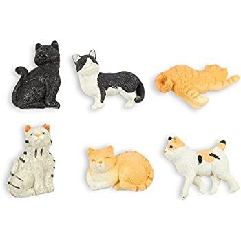 Set of 6 Cat Magnets - Funny Animal Refrigerator Magnets, Perfect Animal Lover Gifts