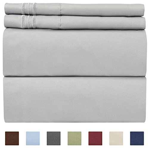 King Size Sheet Set - 4 Piece Set - Hotel Luxury Bed Sheets - Extra Soft - Deep Pockets - Easy Fit - Breathable & Cooling - Wrinkle Free - Comfy – Light Grey Bed Sheets - Kings Sheets – 4 PC