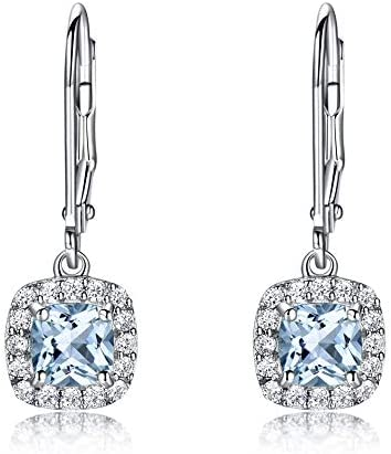 Pendientes De Topacio Azul Cielo Pendientes De Clip De Aguamarina con Piedras Preciosas 925 Joyas De Plata para Mujeres Elegantes