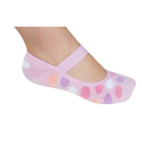 Lupo Women's Dots Terry No Show Yoga Pilates Slipper Grip Socks, One-Size Purple