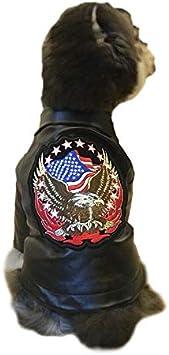 Miaoao-DG Traje de Gato y Perro, la Motocicleta Chaqueta de Cuero con Bordado, Estilo Punky Invierno del Animal doméstico de los Puentes for Gatos Perros Pequeños Pequeños Animales de Navidad Regalos