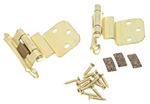 Amerock BP79283 Self-Closing, Face Mount Hinge with 3/8in(10mm) Inset - Polished Brass - 2 Pack