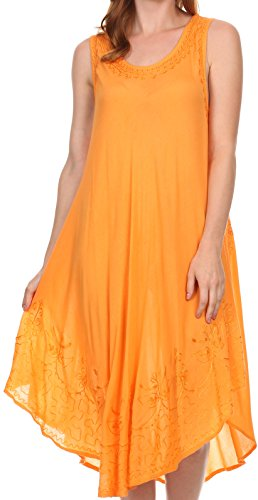 Sakkas 1051 Everyday Essentials Caftan Cover Up - Tangerine - One Size