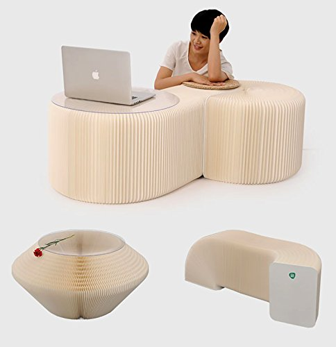 AlienTech Home Furniture Softeating Modern Design Accordin Folding Paper Stool Sofa Chair Kraft Paper Relaxing Foot Stool-Fashion Paper Design, Ideal for School, Kitchen ,living & Dining Room White by AlienTech