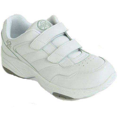 Dr Zen Sport 1 Femmes Thérapeutique Diabétique Extra Profondeur Chaussure Cuir Velcro Blanc